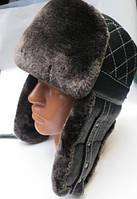Теплая зимняя шапка ушанка мужская