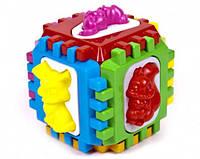 Логический куб-сортер, с вкладышами 14*14*14см , в пакете 50-001