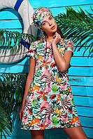 Свободное легкое Платье с цветочным принтом Каллы