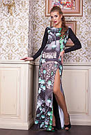 Платье длинное с большим разрезом в модный принт 44-48