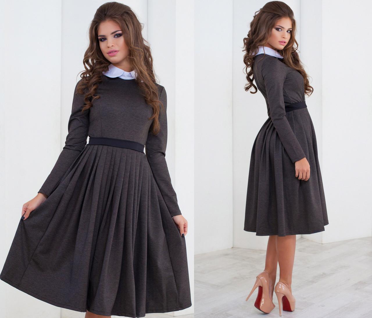 955adcff17e Платье миди с белым воротником и пояском - Стильная женская одежда оптом