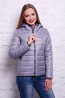 Женская Куртка теплая короткая серая демисезонная с капюшоном 44,46,48