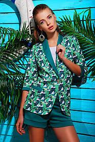 Летний стильный пиджак женский в Листья