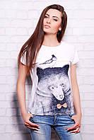 футболка GLEM Мишка с птичкой футболка Кимоно
