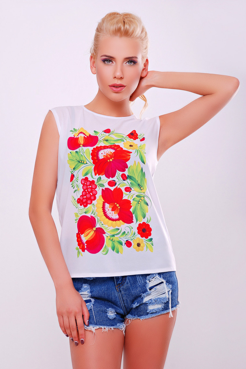 Белая женская футболка с красными цветами Петриковская роспись С М Л