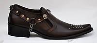 Туфли казаки мужские коричневые, натуральная кожа. Размеры 44, 45. Patriot 14O603.