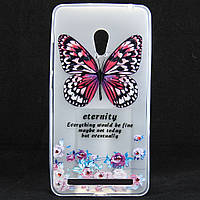 """Чехол-накладка для ASUS Zenfone 6 A600CG, """"Butterfly with flowers"""", со стразами, силиконовый /case/кейс /асус зенфон"""