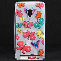 """Чехол-накладка для ASUS Zenfone 6 A600CG, """"Colour Butterflies"""", со стразами, силиконовый /case/кейс /асус"""