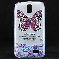 """Чехол-накладка для Lenovo A328T, """"Butterfly with flowers"""", со стразами, силиконовый /case/кейс /леново"""