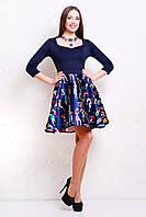Платье расклешенное пышное синего цвета Анфиса