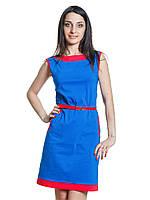 Платье из бенгалина синее с красным поясом  Бриз