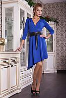 Платье ассиметричное синее с поясом из эко кожи Герда