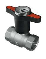 """Кран шаровый Herz 32 с """"Т-образной"""" полимернойрукояткой и термометром (цвет рукоятки -красный), муфтовый"""