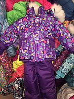 """Детский зимний комбинезон """"Малыш""""  цветной на подстежке Фиолетовые сердечки"""