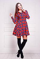 Платье в клеточку расклешенное красное трикотажное Рамона