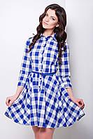 Платье-солнце синего цвета, натуральный хлопок, Рашель
