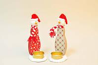 Подсвечник Снеговик для украшения дома на новый год 17 см