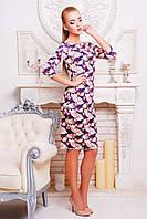 Платье трикотаж в принт Розы Лоя