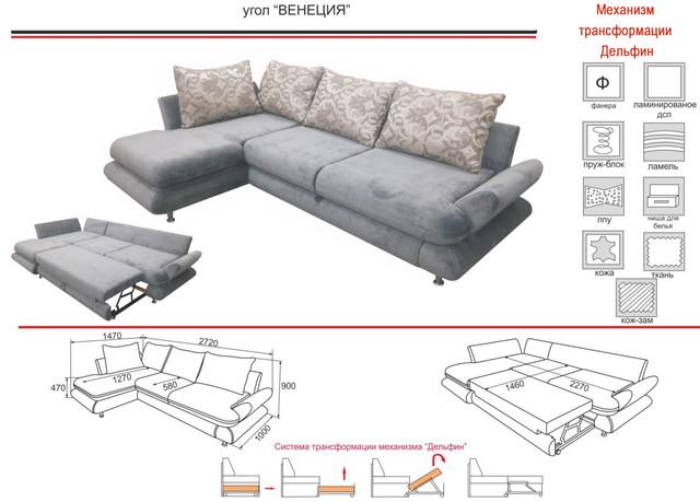 Угловой диван Венеция мех., раскладки дельфин (характеристики)