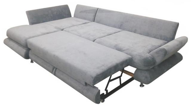 Угловой диван Венеция мех., раскладки дельфин (в разложенном виде)
