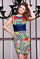 Платье из материала дайвинг синее с принтом Тропические цветы Лея