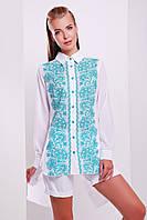 Блуза белая вышиванка  Узор бирюза Джована д/р