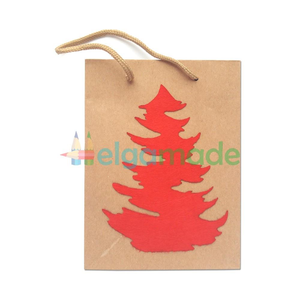 Крафт-пакет с декором из фетра, КРАСНЫЙ, 20х15х6 см, 1 шт, плотный