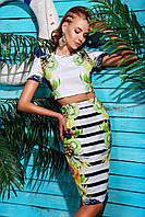 Костюм летний укороченный топик и юбка-карандаш из дайвинга, с ярким принтом Фрукты