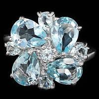 Кольцо Серебро 925 Натуральн. голубой топаз р17.56