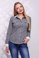 Женская черная блузка рубашка в клетку блуза Техас д/р