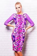 Платье фиолетовое в принт цветы