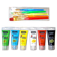 Краски-АКРИЛ 6 цветов, 35 мл., + КИСТИ 5 шт. НЕЙЛОН, ручки - акрил.