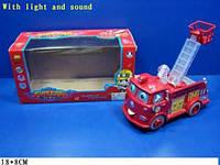 """Музыкальная машина """"Тачки """" B938A """"Пожарная """" свет , двигается лестница, в кор 18*8см"""