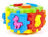 Сортер-шестигранник с геометрическими фигурами и животными 50-004