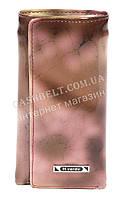 Стильная элитная прочная надежная кожаная ключница H.VERDE art. 2232B-D53 розовый мрамор