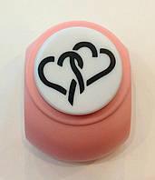 Дырокол фигурный Два сердца 3,8 см кнопка