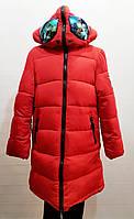 Модная зимняя куртка-пальто с очками для девочки 7-12лет цвет - красный