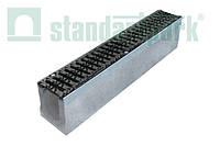 Комплект: Бетонный лоток с наклоном ЛВ-11.19.23-Б-Н01 серии Maxi DN110 с чугунной решеткой кл. D (протектор)