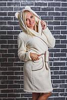 Махровый женский халат с ушками