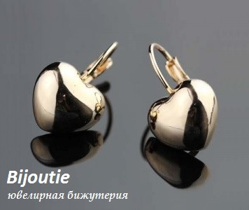 Сережки HEART GOLD ювелірна біжутерія золото 18к декор кристали Swarovski
