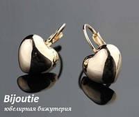 Серьги HEART GOLD  ювелирная бижутерия золото 18к декор кристаллы Swarovski