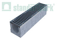 Комплект: Бетонный лоток серии Maxi DN160 с чугунной решеткой кл. E