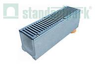 Комплект: Бетонный лоток серии Maxi DN160 с вертикальным отводом с чугунной решеткой кл. E