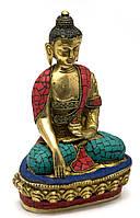 Статуэтка Будда бронзовый бирюза, кораллы (21х13х9 см)