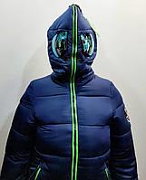 Модная зимняя куртка-пальто с очками для девочки 7-12лет цвет - синий