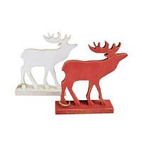 Декоративная игрушка Олень на подставке красный