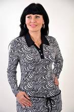 Блуза  батник рубашка трикотаж женская черно-белая Бл 033427 туника