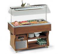 Салат-бар холодильный островной Apach ABR6 ISOLA (вместимость 6 GN1/1, +4…+10°С, темный орех)