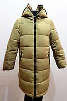Модная зимняя куртка-пальто с очками для девочки 7-12лет цвет - оливковый