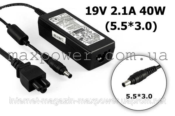 Блок питания для ноутбука Samsung 19v 2.1a 40w (5.5/3.0) AD-4019, ADP-40MH, N150 N310 NF210 NC110 N350